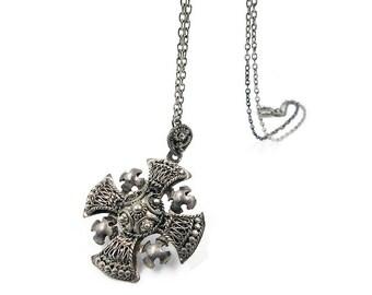 Vintage Jerusalem Silver Maltese Cross Pendant Necklace - 950 Silver, Israel Jewelry, Vintage Cross, Vintage Necklace
