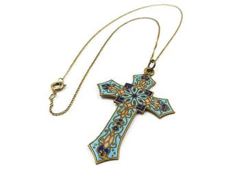 Antique French Champleve Enamel Cross Pendant Necklace - Vintage Cross, Religious Jewelry, Victorian Jewelry, Antique Jewelry