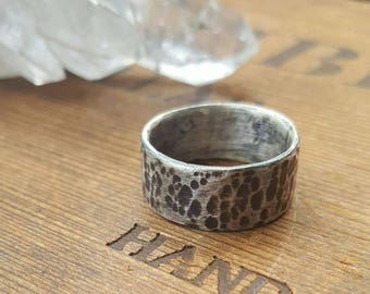 HANDMADE// Sterling Silver Wide Band Ring-Size 9-Hammer Textured and Oxidized for Distressed Look