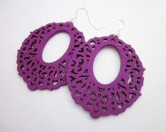 Round Wood Earrings -- Large Purple Earrings -- Magenta Earrings -- Purple Filigree Earrings -- Magenta Dangles -- Purple Laser Earrings