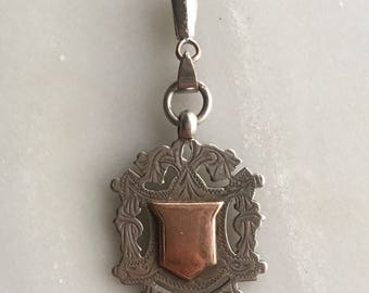 Antique Ornate Hallmarked Sterling Silver Shield Watch Fob Pendant