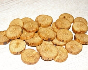 "25 Handmade oak wood Tree Branch Buttons with Bark, accessories (0,91'' diameter x 0,20"" thick)"