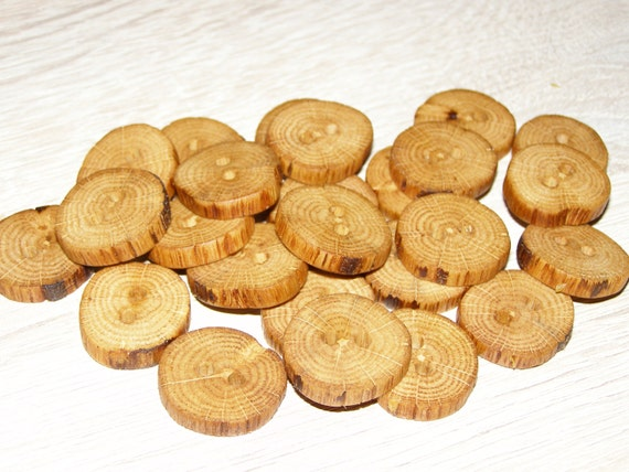 Handmade oak wood tree branch buttons with bark