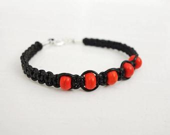 Braided leather bracelet orange howlite stones black cord bracelet leather macrame bracelet for men for women