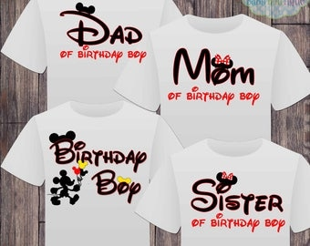 Matching Disney Family Birthday Boy Tshirts - Mickey Minnie Mouse Birthday Girl - Disney Inspired - Matching Birthday Shirts - Minnie Mouse