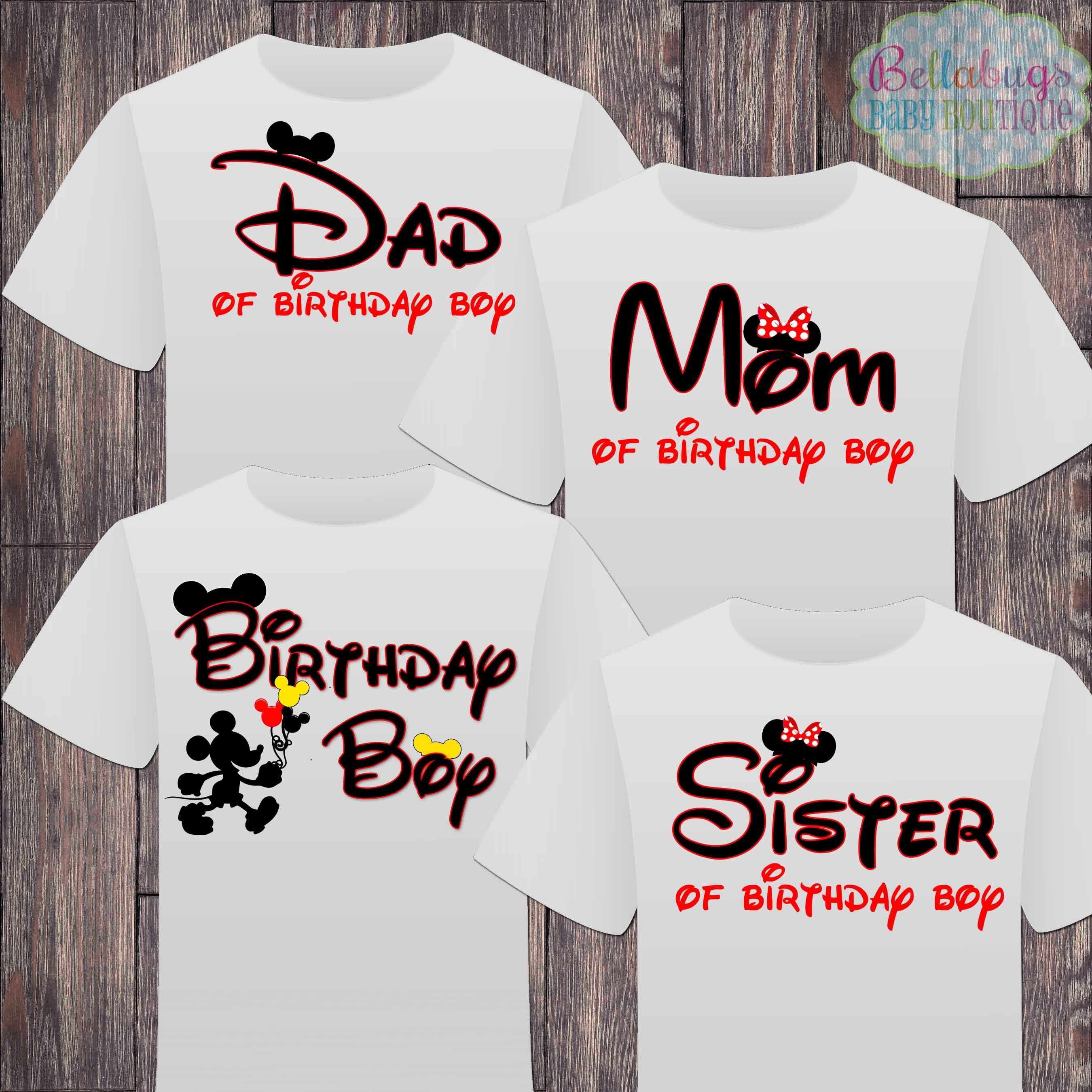 Matching Disney Family Birthday Boy Tshirts Mickey Minnie