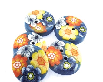 Colorful Handmade Polymer Clay Buttons 3/4 inch, Flower Design