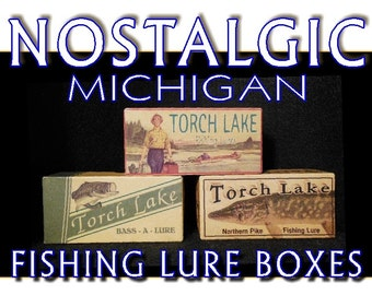 lake house decor Lake St. Clair Michigan fishing cabin decor lure boxes Detroit