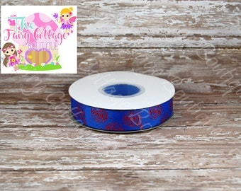 Roses on Blue 7/8 inch Ribbon