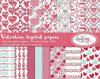 Valentine digital paper, Valentine scrapbook paper, patterned digital papers, Valentine patterns, DIY Valentine party, P402
