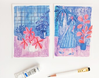 A set of Two Blue & Purple Postcards. Woman and plants