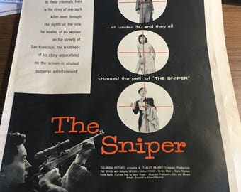 The sniper Columbia pictures circa 1952-3. Ad 10x14 cool graphics.