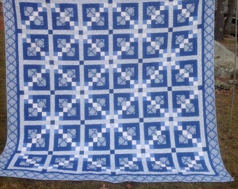 "Blue and White queen quilt 96"" square"