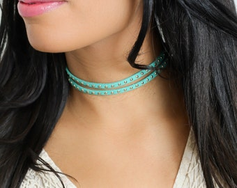 Choker Necklace • Silver Studs • Turquoise Leather  • Double Choker • Layered Choker • Two Strand Choker • Aqua Leather Cord • Faux Leather