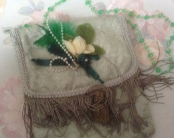 Victorian celery green purse with handle with fringe and flowers