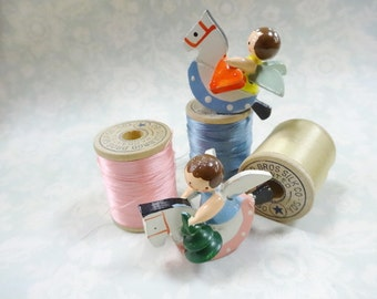 Vintage Canton Silk Wooden Thread Spools Lot (3) Each PLUS Little Angels On Rocking Horse Display Collection