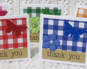 Gigham Patterned Handmade Mini Thank You Cards with Flowers and Butterflies Set of 50, Checkerboard, Glittery Butterflies, Thank You Cards