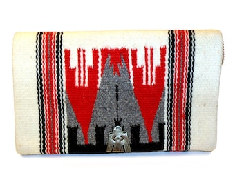 Vintage 40's authentic Chimayo Clutch Purse Native American Handbag, Hand Woven Wool with Silver Thunderbird