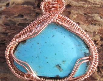 Copper Queen///Turquoise and Copper Wire Wrap Pendant, One of a Kind, Handmade, Art