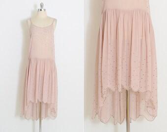 Vintage 20s Dress | 1920s flapper dress | silk metal studs | s/m | 5849