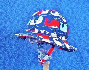 Navy Blue Baby Sun Hat with Whales, Chin Straps and Straight Brim