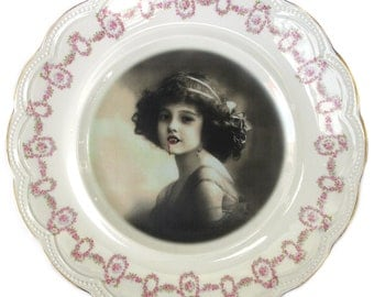 Lilith the Vampire Girl Portrait - Altered Antique Plate 10""