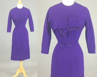 Vintage 50s Dress, 1950s Purple Wool Pinup Dress, Wiggle Dress, Fall Dress