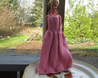 Pink Barbie Dress Knitted by SuzannesStitches, Barbie Formal Dress, Barbie Doll Dress, Barbie Pink Formal Dress, Hand Knit Barbie Dress