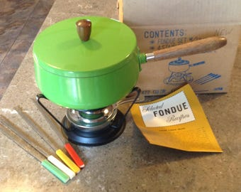 Vintage  Lime Green Fondue Stainless Set Retro Complete in Original Box UNUSED