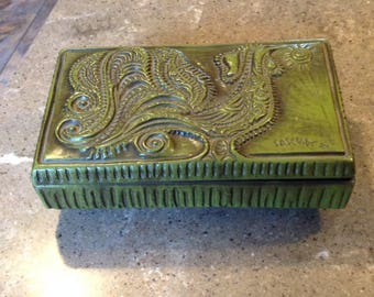 Vintage Haeger Sascha Brasstoff Pottery Rooster Green Roman Bronze Covered Box Great for Jewelry Cigar Trinket