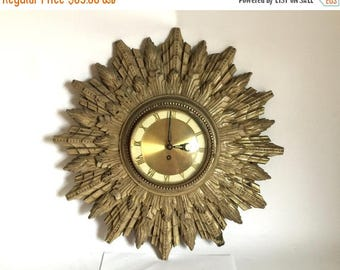 "Mid Century German 19.5"" Sunburst / Starburst 6 Day Wind Up Wall Clock - Made in Germany"