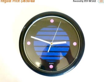 Vintage 1980's Plastic Battery Operated Wall Clock
