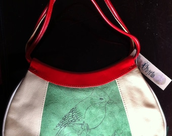 Unique shoulder bag Argentinian leather with bird and babushka print
