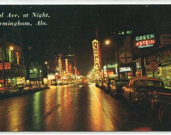 3rd Avenue At Night Cars Birmingham Alabama 1960 postcard