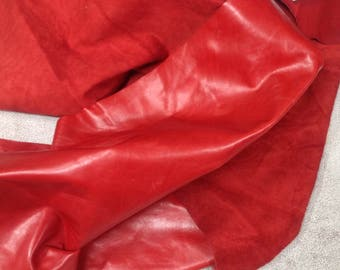 819AP.  Lipstick Red Leather Cowhide Partial