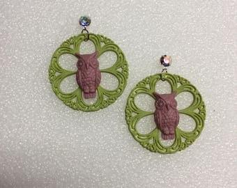 German circle filigree earring accented vintage German owl
