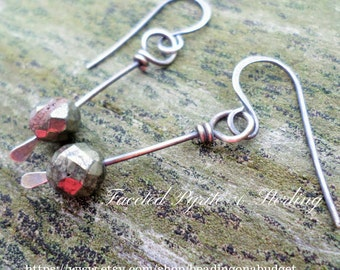 Sterling Silver Faceted Pyrite Paddle Earrings with Handmade Gift pouch