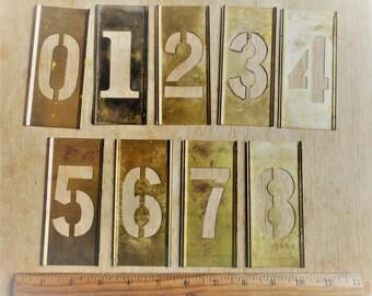 Vintage Brass Stencils Numbers 0 through 9.  Vintage interlocking stencils.