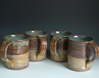 Hand thrown stoneware pottery mugs set of 4  (M-12)