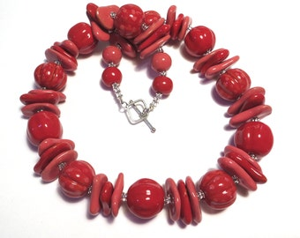 Red and Pink Kazuri Necklace, Ceramic Jewelry, Kazuri Bead Necklace