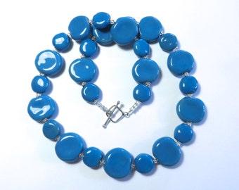Ceramic Jewelry, Kazuri Bead Necklace, Statement Necklace, Turquoise Kazuri Necklace