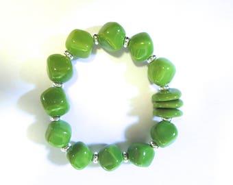 Kazuri Bangle, Green Ceramic Bracelet