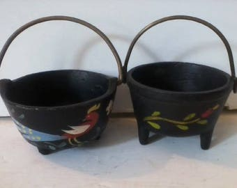 Pair of Vintage Miniature Cast Iron Cauldrons Hand Painted