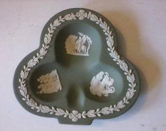 "Vintage Wedgwood Sage Green Jasper-Ware ""Shamrock"" Candy Dish"