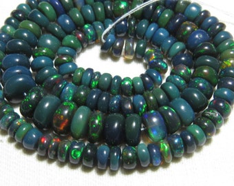 Black Welo Ethiopian Opal - 16 Inches Long  strand - Gorgeous Quality  full Color Full Fire smooth Polished Rondelle Beads size - 4 - 8 mm