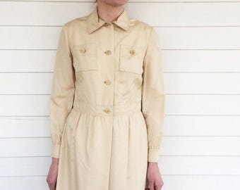 70s Neutral Dress Champagne Long Sleeve M Carlye Vintage 1970s Casual