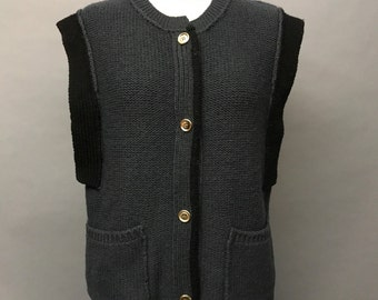 70s SONIA RYKIEL charcoal gray & black wool knit sleeveless black trim button front cardigan sweater VEST top vintage 1970s 80s