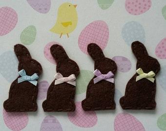 4 Handmade Felt Chocolate Easter Bunny Rabbit Appliques