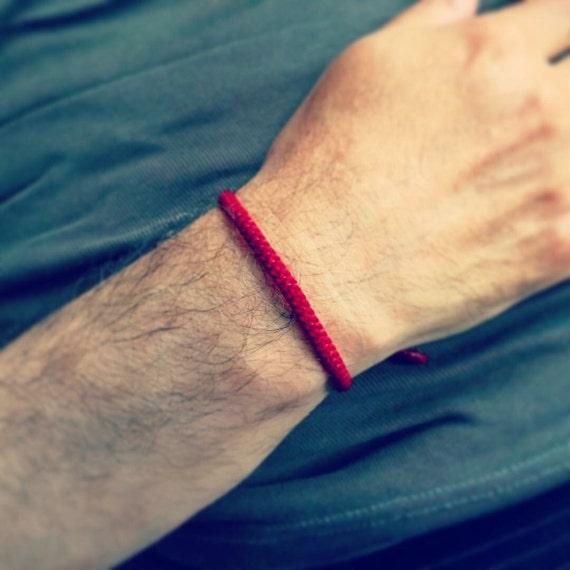 Handcrafted Fair Trade Classic Thin RED COTTON FRIENDSHIP Thai Buddhist Wristband Wristwear