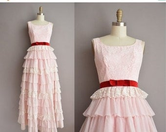 20% OFF SHOP SALE... 60s pink ruffle tier vintage party prom dress / vintage 1960s dress